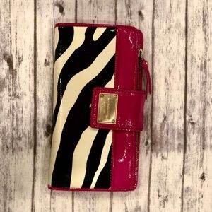 Michael Kors Wallet Patent Leather Zebra/Hot Pink